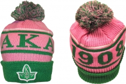 View Buying Options For The Alpha Kappa Alpha Divine 9 S8 Cuff Ladies Beanie Cap with Ball