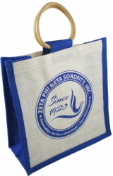 View Buying Options For The Zeta Phi Beta Round Crest Ladies Mini Jute Gift Bag