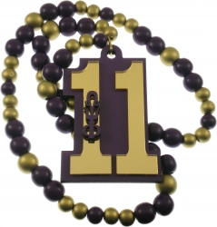 View Buying Options For The Omega Psi Phi Line #11 Mirror Wood Color Bead Tiki Necklace