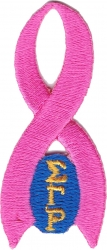 View Buying Options For The Sigma Gamma Rho Pink Ribbon Iron-On Patch