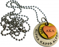 View Buying Options For The Alpha Kappa Alpha Heart Stamped ID Tag with Chain