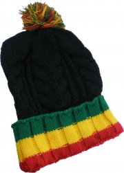 View Buying Options For The Chunky Rib Knit Rasta Stripe Mens Beanie Cap with Ball