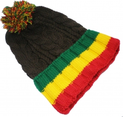 View Buying Options For The Chunky Rib Knit Rasta Stripe Beanie Cap with Ball
