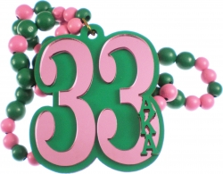 View Buying Options For The Alpha Kappa Alpha Line #33 Mirror Wood Color Bead Tiki Necklace