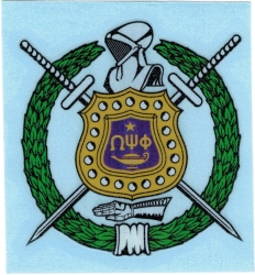 View Buying Options For The Omega Psi Phi Shield Decal Sticker