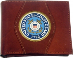 View Buying Options For The Coast Guard Logo Round Metal Badge Mens Leather Wallet