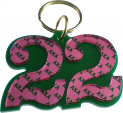 View Buying Options For The Alpha Kappa Alpha Color Mirror Line #22 Keychain
