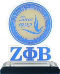 View Buying Options For The Zeta Phi Beta Acrylic Desktop Piece with Wooden Base