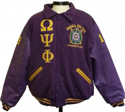 View Buying Options For The Omega Psi Phi Varsity Mens Wool & Leather Jacket