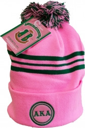 View Buying Options For The Alpha Kappa Alpha Striped Knit Cuff Beanie Cap with Ball