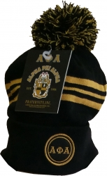 View Buying Options For The Alpha Phi Alpha Striped Knit Cuff Beanie Cap with Ball