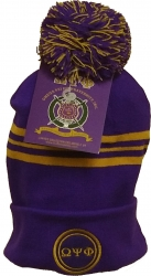 View Buying Options For The Omega Psi Phi Striped Knit Cuff Beanie Cap with Ball