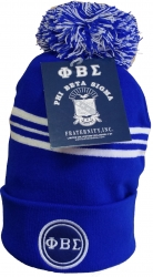 View Buying Options For The Phi Beta Sigma Striped Knit Cuff Beanie Cap with Ball