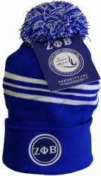 View Buying Options For The Zeta Phi Beta Striped Knit Cuff Beanie Cap with Ball