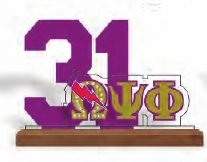 View Buying Options For The Omega Psi Phi Line #31 Desktop Piece with Wooden Base