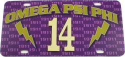 View Buying Options For The Omega Psi Phi Printed Graphic Raised Line #14 License Plate