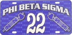 View Buying Options For The Phi Beta Sigma Printed Graphic Raised Line #22 License Plate