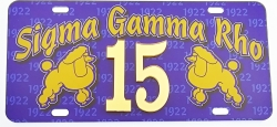 View Buying Options For The Sigma Gamma Rho Printed Graphic Raised Line #15 License Plate