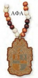 View Buying Options For The Alpha Phi Alpha Laser Engraved Shield Wood Bead Tiki Necklace