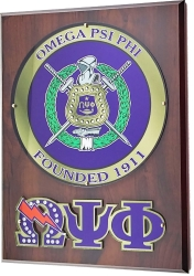 View Buying Options For The Omega Psi Phi Circle Shield Wooden Wall Plaque