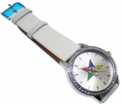 View Buying Options For The Order of the Eastern Star Sorority Symbol Leather Band Watch