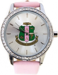 View Buying Options For The Alpha Kappa Alpha Sorority Symbol Leather Band Watch