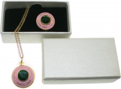 View Buying Options For The Alpha Kappa Alpha Diamond Cut Signet Stone Lapel Pin and Necklace Set
