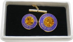 View Buying Options For The Omega Psi Phi Diamond Cut Signet Stone Lapel Pin and Tie Tac Set