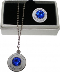 View Buying Options For The Zeta Phi Beta Diamond Cut Signet Stone Lapel Pin and Necklace Set