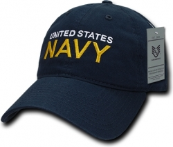 View Buying Options For The RapDom United States Navy Text Relaxed Cotton Mens Cap