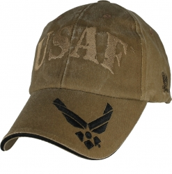 View Buying Options For The USAF w/Wings On Bill Logo Washed Mens Cap