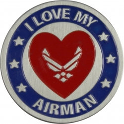 View Buying Options For The I Love My Airman / Air Force Round Lapel Pin