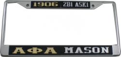 View Buying Options For The Alpha Phi Alpha + Mason Split License Plate Frame