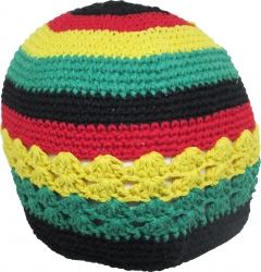 View Buying Options For The Jamaican Rasta Tri-Color Circle Knit Crocheted Kufi Mens Beanie Cap
