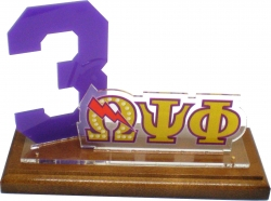 View Buying Options For The Omega Psi Phi Line #3 Desktop Piece with Wooden Base