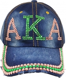 View Buying Options For The Alpha Kappa Alpha Distressed Denim Rhinestone Ladies Cap