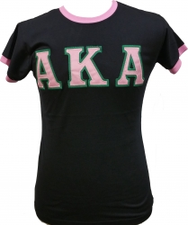 View Buying Options For The Alpha Kappa Alpha Applique Ringer Ladies Tee