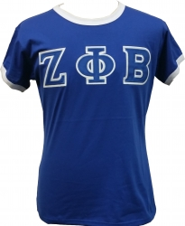 View Buying Options For The Zeta Phi Beta Applique Ringer Ladies Tee