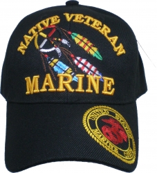 View Buying Options For The Marine Native Veteran Logo On Bill Mens Cap