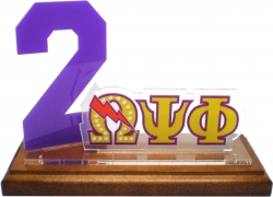 View Buying Options For The Omega Psi Phi Line #2 Desktop Piece with Wooden Base