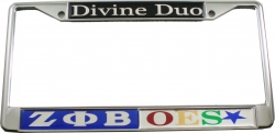 View Buying Options For The Zeta Phi Beta + Eastern Star Divine Duo Split License Plate Frame