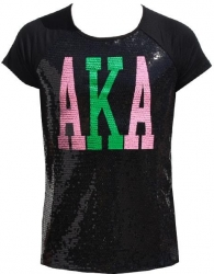 View Buying Options For The Alpha Kappa Alpha Divine 9 Ladies Sequins Tee
