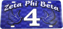 View Buying Options For The Zeta Phi Beta Printed Graphic Raised Line #4 License Plate