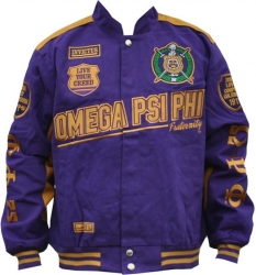 View Buying Options For The Big Boy Omega Psi Phi Divine 9 S9 Mens Twill Racing Jacket