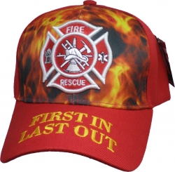 View Buying Options For The Fire Rescue Flames First In Last Out Mens Cap