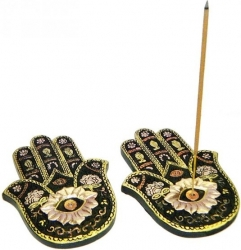 View Buying Options For The Flat Hamsa Hand Painted Incense Burner Set [Pre-Pack]