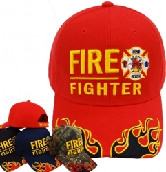 View Buying Options For The Fire Fighter Fire Rescue Logo Flames On Bill Mens Cap