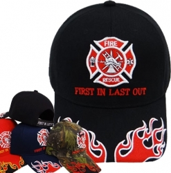 View Buying Options For The Fire Rescue Logo First In Last Out Flames On Bill Mens Cap