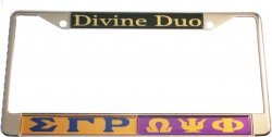 View Buying Options For The Sigma Gamma Rho + Omega Psi Phi Divine Duo Split License Plate Frame