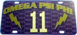 View Buying Options For The Omega Psi Phi Printed Graphic Raised Line #11 License Plate
